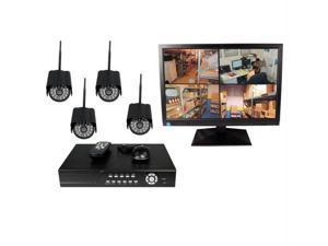 4CH DVR COMPLETE SYSTEM, 500GB HD 4 WIRELESS CAMERAS WITH MONITOR