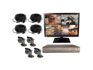 4CH DVR COMPLETE SYSTEM, 1TB HD, 4 WIRED CAMERAS, WITH MONITOR
