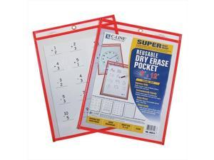 C-Line Products 40814BNDL10EA Reusable Dry Erase Pocket  Neon Red  9 x 12 - Set of 10 Pockets