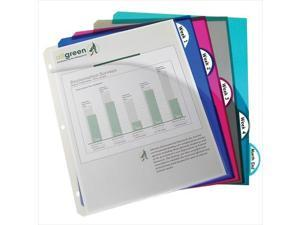 C-Line Products 05460BNDL6PK Biodegradable 5-Tab Poly Binder Index Dividers with Slant Pockets  Assorted  5-PK - Set of 6 PK