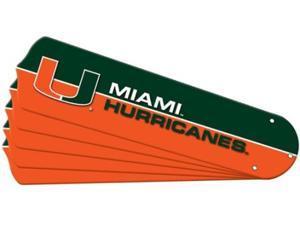 Ceiling Fan Designers 7990-MIA New NCAA MIAMI HURRICANES 52 in. Ceiling Fan Blade Set