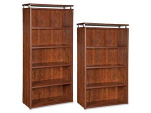 Lorell LLR68723 Bookcase, 5-Shelf, 36 in. x 12.5 in. x 68.75 in., Cherry