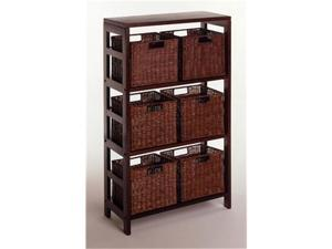 Winsome 92610 Leo 7 Piece Shelf and Baskets - One Shelf  6 Small Baskets - Espresso