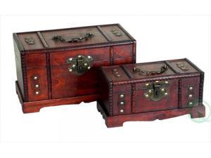 Antique Wooden Trunk, Old Treasure Chest Set of 2