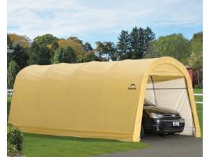 ShelterLogic 62684 10x20x8 ft. - 3x6,1x2,4 m Round Style Auto Shelter, 1-.38 in.  - 3,5 cm 5-Rib Frame, Sandstone Cover