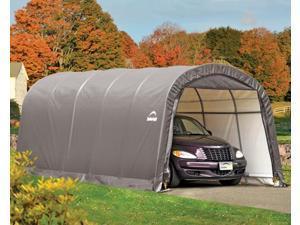 ShelterLogic 62780 12-20-8 ft. - 3,7x6,1x2,4 m Round Style Shelter, 1-.38 in.  - 3,5 cm 6-Rib Frame, Grey Cover