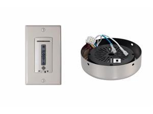Monte Carlo MCRC4RPN Hard-wired wall remote control, receiver, white-almond switch plates. POLISHED NICKEL receiver hub