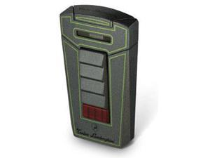 Tonino Lamborghini TTR007023 Tonino Lamborghini Aero Metallic Gray With Green Lines Torch Flame Cigar Lighter