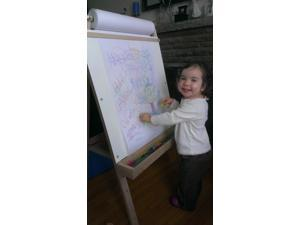 Beka 01918 Ultimate Easel, chalkboard, markerboard, wood trays - 42 in. tall