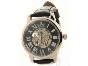 Croton Croton Mens Imperial Black Leather Skeleton Automatic Watch C1331072BSSL