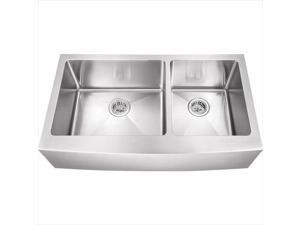 Schon SCAPL604016 Luxury Large 16 Gauge 60-40 Double Bowl Apron Front Kitchen Sink in Stainless Steel