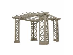 Yardistry YM11640 12x12 Arched Roof Pergola with Plinth - Grey