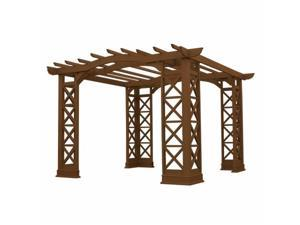 Yardistry YM11635 12 x 12 Arched Roof Pergola with Plinth - Tugboat