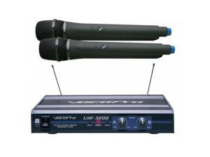 VocoPro UHF3200 UHF-Dual Channel Wireless Microphone System