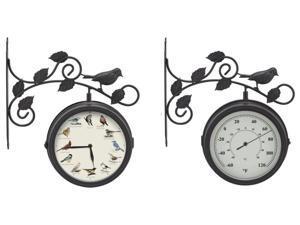 Mark Feldstein Decorative Outdoor Bird Clock-Thermometer