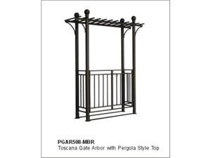 DC America PGAR508-MBR Toscana Gate Arbor with Pergola Style Top- Bronze