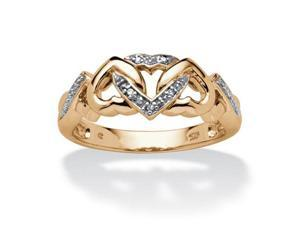 PalmBeach Jewelry 544569 Diamond Accent Interlocking Hearts Ring in 18k Gold over Sterling Silver