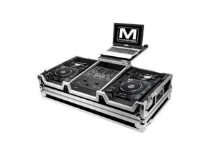 MARATHON PROFESSIONAL MA-CDJ2KRN61WLT Case for 2 x Large Format CD Players with Low Profile Wheels and Laptop Shelf