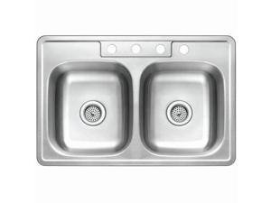 Kingston Brass GKTD332210 Gourmetier Self-Rimming Double Bowl Kitchen Sink, Satin Nickel