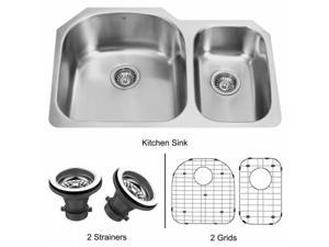 Vigo VG3121LK1 31-inch Undermount Stainless Steel Kitchen Sink, Two Grids and Two Strainers