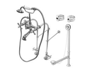 Kingston Brass CCK5171AX Vintage Freestanding Clawfoot Tub Faucet Package with Metal Cross Handles in Polished Chrome