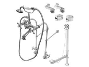 Kingston Brass CCK5101AX Vintage Freestanding Clawfoot Tub Faucet Package with Metal Cross Handles in Polished Chrome