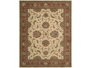 Nourison 67262 Living Treasures Area Rug Collection Ivory and Red 5 ft 6 in. x 8 ft 3 in. Rectangle