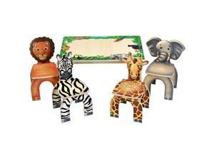 Fun Activity Adventure Colorful Safari Table & Animal Kids Chairs Set Desk