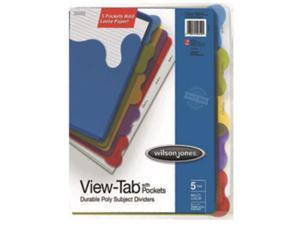 Acco Brands Usa W55082 Wilson Jones View Tab Transparent Student Index Divider with Pocket 8.5x11 Multi
