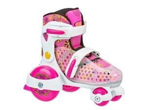 Roller Derby 1959S Fun Roll Girls Junior Adjustable Roller Skate, White, Pink & Yellow - Small - 7-11