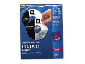 AVERY 5931 Matte White Removable CD Labels for Laser Printers