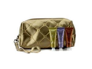 Clarins 16191280314 Soft Cream Eye Color Set - No.03 Sage, No.05 Lilac, No.08 Burnt Orange - With Golden Cosmetic Pouch - 3pcs Plus 1bag