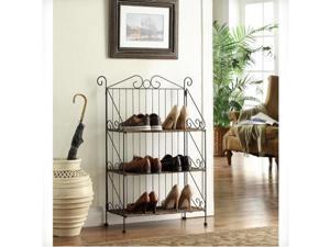 4D Concepts 144014 Farmington 3 Tier Folding Maize Weave Bookcase - Corn Husk Weave- Metal