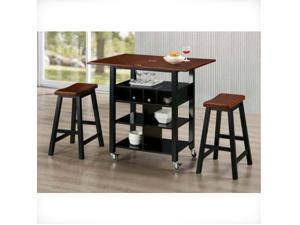 4D Concepts 43928 Phoenix Kitchen Island with 2 Stools - Mahogany and Black