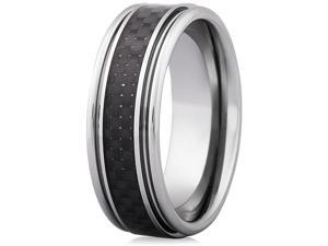 Doma Jewellery MAS03171-8 Tungsten Carbide with Carbon Fiber Ring - Size 8