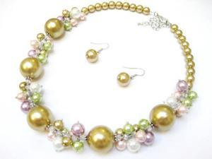 Alur Jewelry 18661GD 18 in. Big Pearl & Pearl Cluster Necklace and Earring set in Gold