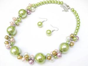 Alur Jewelry 18661GN 18 in. Big Pearl & Pearl Cluster Necklace and Earring set in Green