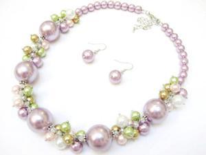 Alur Jewelry 18661PU 18 in. Big Pearl & Pearl Cluster Necklace and Earring set in Purple