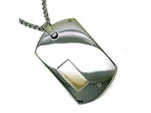 14K Gold and Stainless Steel Men's Diamond Dog Tag Necklace