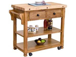 Sunny Designs 2178RO Sedona Buthcer Block Kitchen Island Cart in Rustic Oak
