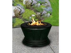 California Outdoor Concepts 7010-BK-PG9-N-A San Simeon Chat Height Fire Pit-Black-Slate Grey Glass-Without Granite