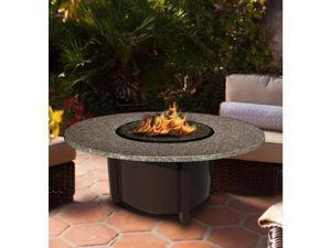 California Outdoor Concepts 5010-BR-PG9-PEB-42 Carmel Chat Height Fire Pit-Brown-Slate Grey Glass-Pebble - 42 in.
