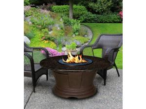 California Outdoor Concepts 7010-CB-PG5-LAG-48 San Simeon Chat Height Fire Pit-Brown-Blue Glass-Laguna Mosaic 48 in. Tile Top