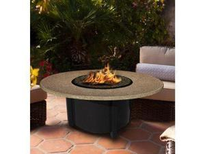 California Outdoor Concepts 5010-BK-PG5-SUN-48 Carmel Chat Height Fire Pit-Black-Blue Glass-Sunset Gold - 48 in.