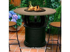 California Outdoor Concepts 2050-BK-PG10-SUN-48 Del Mar Balcony Height Fire Pit-Black-Black Reflective Glass-Sunset Gold - 48 in.