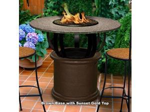California Outdoor Concepts 2030-CB-PG10-SUN-42 Del Mar Bar Height Fire Pit-Brown-Black Reflective Glass-Sunset Gold - 42 in.