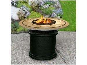 California Outdoor Concepts 2020-BK-PG10-LAG-48 Del Mar Dining Height Fire Pit-Black-Black Reflective Glass-Laguna Mosaic 48 in. Tile Top