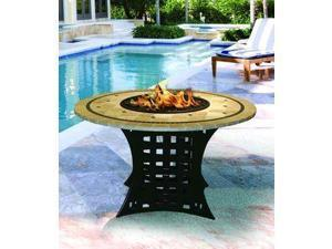 California Outdoor Concepts 4020-BK-PG10-CAP-48 La Costa Dining Height Fire Pit-Black-Black Reflective Glass-Capistrano Mosaic 48 in. Tile Top
