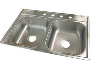 Franke Kindred FDS704NB 33 in. X 22 in. X 7 in. Satin Stainless Steel 4 Hole Sink