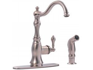 Ultra Faucets UF11243 Stainless Steel Single Handle Kitchen Faucet With Side Spr